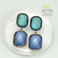 Boucles d`Oreilles Clips Doré Pinces Art Déco Rectangle Vert Bleu Vintage J2