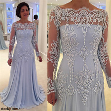 Lace Mother of the Bride/Groom Dresses Long Sleeve Reception Evening Gown Custom