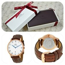 *NEW* Daniel Wellington Dapper 'St Mawes' 1100DW Unisex Watch Brown Leather Date