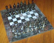 "10""x10"" Gray & White Marble Board & Metal Ancient Greek Figure Chess Set"