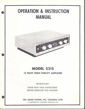 BELL INSTALLATION & OPERATION MANUAL FOR A MODEL 2315 AMPLIFIER