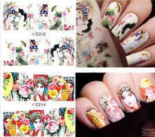 4 Patterns Opera Actress Nail Art Water Decals Transfers Stickers