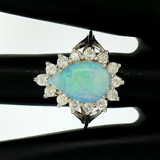 Estate 14k White Gold 3.62ct Pear Cut Australian Opal Diamond Halo Cocktail Ring