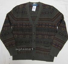 NWT Polo Ralph Lauren Fair Isle wool cardigan sweater leather button M