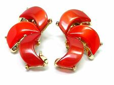 Vintage Thermoset Earrings Clip Red Orange Vintage Costume Jewelry