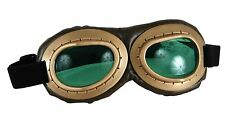 Aviator Costume Goggles Green Gold Brown Pilot Motorcycle Steampunk WW Glasses