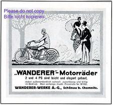 Wanderer Motorrad Reklame 1914 Schönau Chemnitz elegante Dame Sonnenschirm +