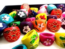 15pcs Flower Mix Rings Colorful Women Wooden Rings Wholesale Jewelry Job Lots