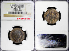 New listing Sweden Pattern Copper (c.1853) 2 Ore Ngc Ms62 Bn 150 Rd Rare Top Graded Km# Pn71