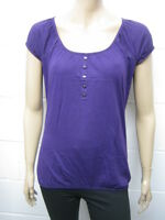 Womens B.C Gypsy Elasticated Boho T-Shirt Top Purple Size 6 to 14 Ladies WT265