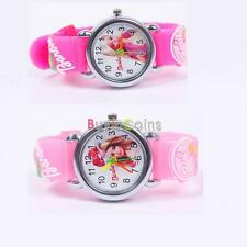 Cartoon Cute 3D Kid Girl Analog Quartz Bracelet Watch Rubber Leather for Barbie
