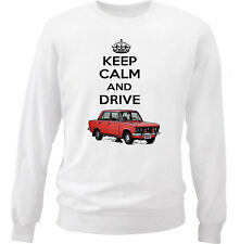 POLISH FIAT 125P RED KEEP CALM - COTTON WHITE SWEATSHIRT ALL SIZES IN STOCK
