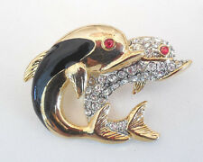 NEW KIRKS FOLLY CRYSTAL DOLPHINS PIN BROOCH GOLDTONE
