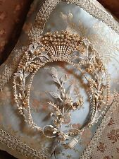 1920s Wax Flower Pearl Cresent Shaped Wedding Tiara Headdress~ fabulous Display