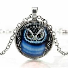 Vintage Halloween Owl Cabochon Tibetan silver Glass Chain Pendant Necklace