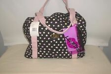 LUV BETSEY JOHNSON WEEKENDER QUILTED POLKA DOTS HEARTS  TRAVEL BAG NEW