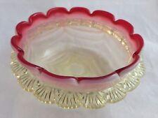 Antique Victorian - Cranberry+ Vaseline / Uranium  Glass Bowl / Stourbridge