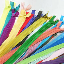 "lot of 12 zippers 16"" / 41cm. Assorted Mix Colors Closed End Invisible Zippers"