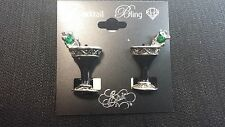 """""""Cocktail Bling"""" Black Martini Earring Accented with Rhinestones"""
