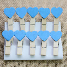 10/20/50 pcs Mini Hearts Wooden Pegs Photo Clips Craft Wedding Party Decor