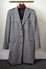 BEN SHERMAN Black/White Glen Plaid Tan Overcheck Peak Lapel Overcoat Size Large