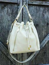 Kenneth Cole NEW YORK Drawstrig Shoulder Bag Cross / Satchel Leather Bone $278