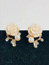 18K Gold Plated Rose Shaped Simulated Pearl And Diamond Stud Earrings Women New