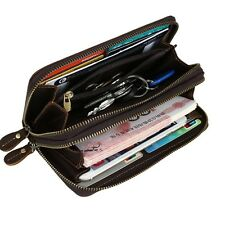 Men's Retro Leather Wallet Large Long Zipper Clutch Credit Card Holder Wristlet