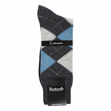 Mens Luxury Charcoal Chine Beaulieu Argyle Pantherella Cashmere Socks
