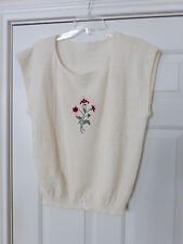 NWT WOMENS KNIT SWEATER TOP LARGE SLEEVELESS  CREAM COLOR