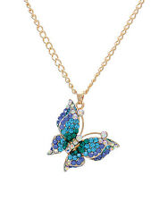 Blue Crystal 3-D Butterfly Gold Chain Pendant Necklace Fashion Women Jewelry
