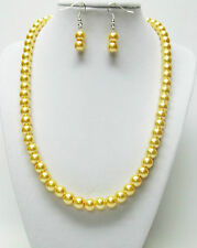 """Yellow Glass Pearl Necklace & Earrings Set (20"""", Silver Plated)"""