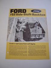 Ford 752 Side-Shift Backhoe (4500 Tractor Loader) Brochure, 4 pg, original, '67