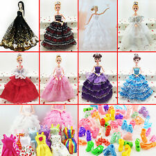 10Pcs Wedding Fashion Gown Dresses & Clothes 10 Shoes For Barbie Doll DIY
