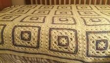 """Hand Crocheted Granny Square Afghan with white border 82 × 60"""""""