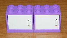 LEGO - Container Cupboard 2 x 3 x 2 - (X2) - Med Lavender / White Doors