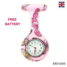 New Fashion Silicone Brooch Tunic Fob Nurse Watch PINK BUTTERFLY + FREE BATTERY