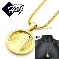"24""MEN Stainless Steel 2mm Gold Box Link Chain Necklace VIRGIN MARY Pendant*GP54"