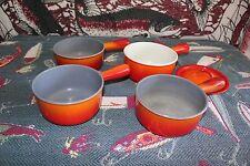 Vintage Descoware Cast Iron Enamelware Flame Orange Set 4 7/8 Quart A sp 214 pan