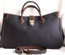 Dooney Bourke Navy Canvas DB Brown Leather 3-Lg-Comp Tote Crossbody Handbag