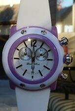 NEW $395 GLAM ROCK GD1110 MIAMI BEACH CHRONOGRAPH WHITE/LILAC LADIES WATCH