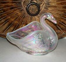 Vintage Fenton Opalescent Pink Carnival Glass Swan Candy Trinket Dish iridescent