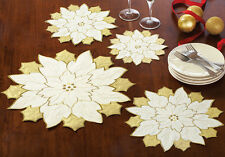 Gold & White Table Doilies Set of 4 Table Decor Holiday Christmas