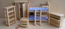 1:12th Scale 5 Piece Pine Bedroom Set Dolls House Miniature Bedroom Bunk Bed 813
