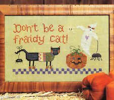 """FRAIDY CAT"" HALLOWEEN CROSS STITCH PATTERN * PUMPKIN GHOST"