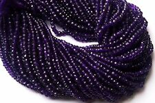 Natural Gem African Amethyst 3.5MM Micro Faceted Rondelle Beads Strand 13 Inch