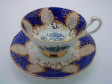 Rare PARAGON Vintage China Tea Cup & Saucer Cabinet Duo Blue Cornflowers A/F
