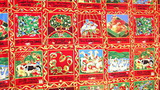 12 Days of Christmas Panel 135cms wide 30cm length 45 Squares Red