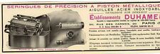 ETS DUHAMEL SERINGUES DE PRECISION A PISTON PARIS PUBLICITE PUB 1929 FRENCH AD
