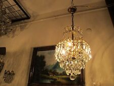 Antique Vintage Small French Waterfall Crystal Chandelier Lamp Light 1940's.10in